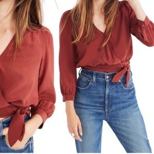 Madewell Silk Wrap Top NWT